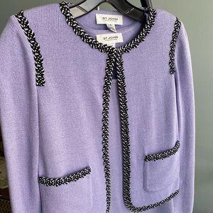 St. John lt purple lavender sweater set size 2 XP